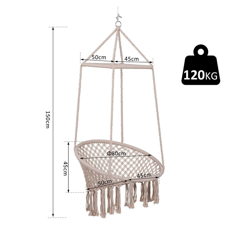 Sale Macrame Hammock Indoor Outdoor Hanging Chair Swing 58 99