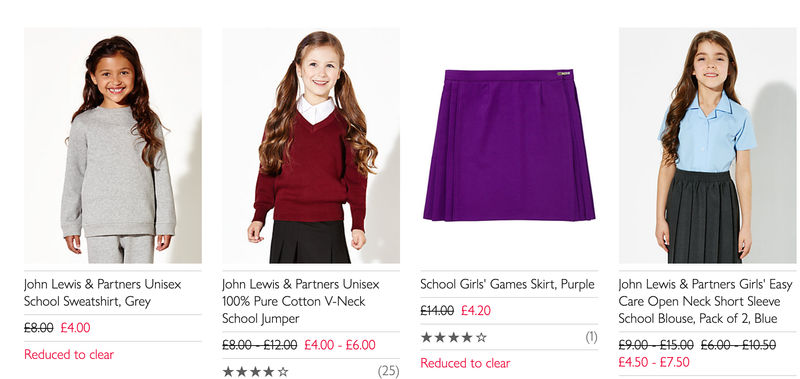 108948644 John Lewis School Uniform Reduced to Clear, £1.50   LatestDeals.co.uk