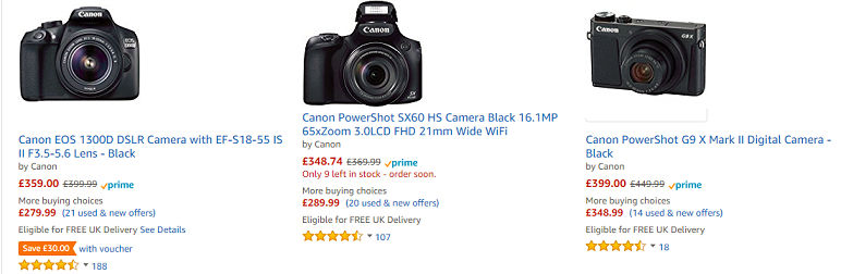 Canon Deals UK - Cheap Camera at Amazon, Argos, Currys