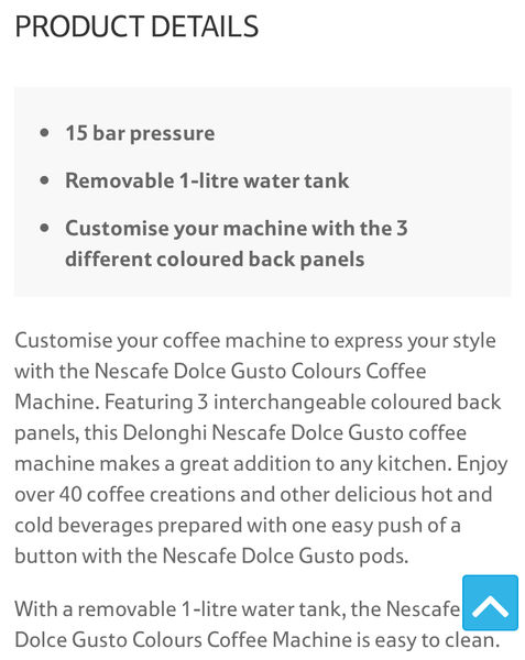Nescafe Dolce Gusto Colours Coffee Machine 49 At Tesco