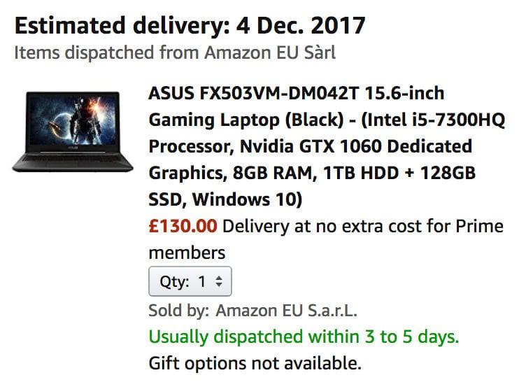 MISPRICE - ASUS 15 6-Inch Gaming Laptop, £130 at Amazon