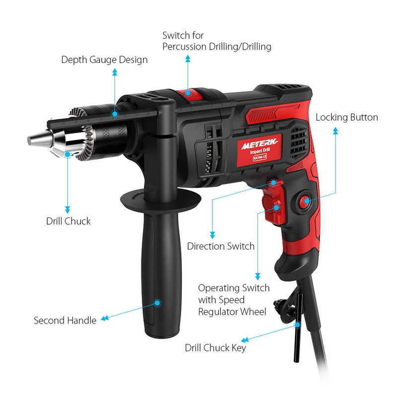 b3ae427ff 30% off Hammer Drill, Meterk Impact Drill 3000 RPM Hand Electric ...