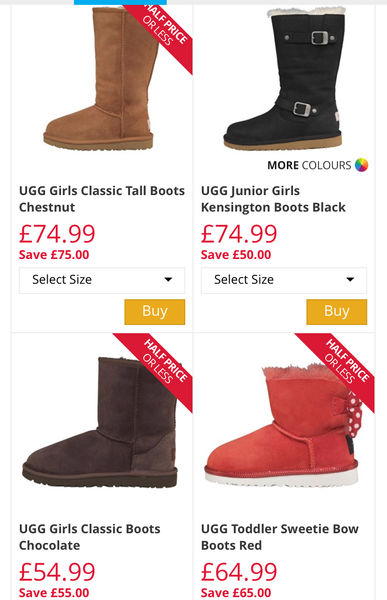 Up to 75% off Kids UGG's at M\u0026M Direct