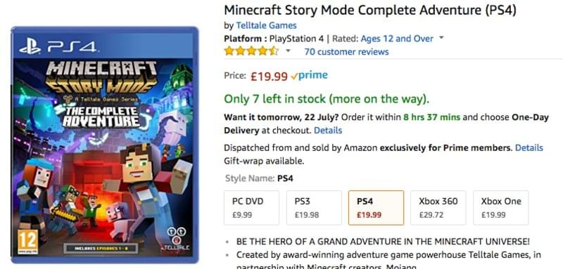 Minecraft Story Mode Complete Adventure (PS4), £19 99 at Amazon