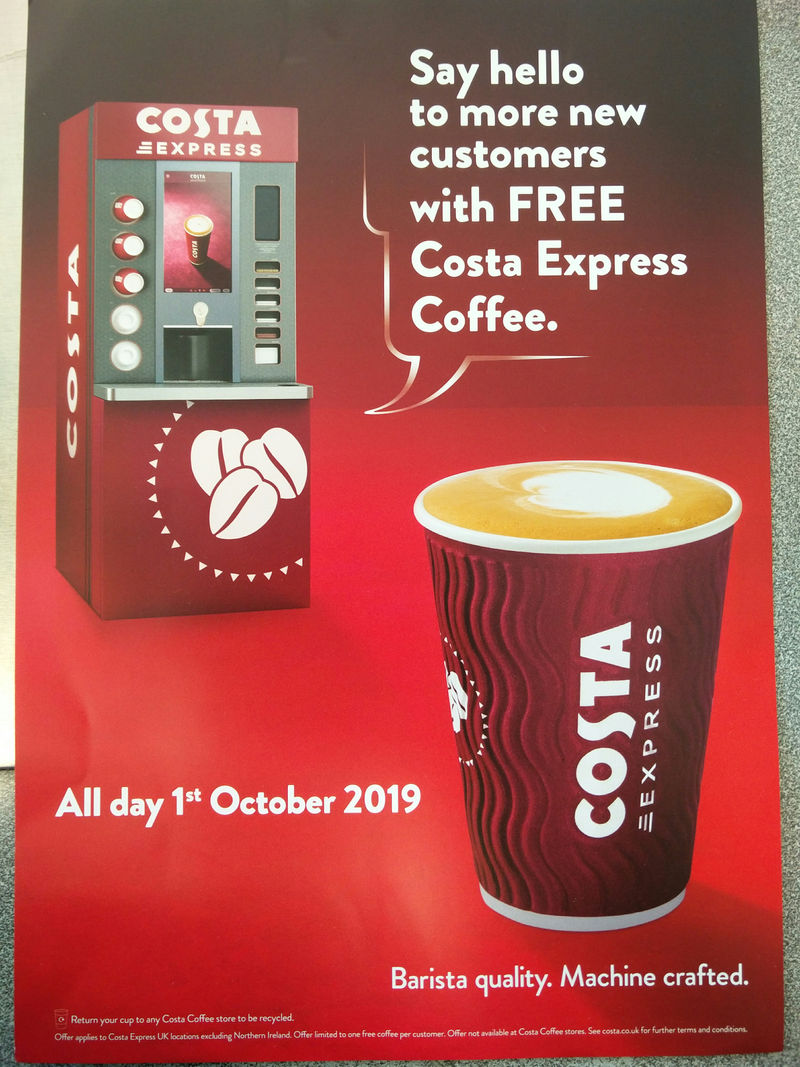 Leaked Free Costa Coffee On 1st October Latestdealscouk