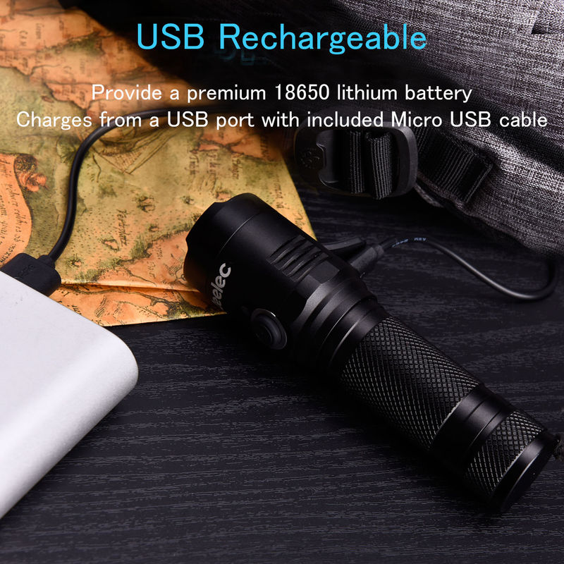 Rechargeable Torch, IPX6 Waterproof, Magnet Base, 18650