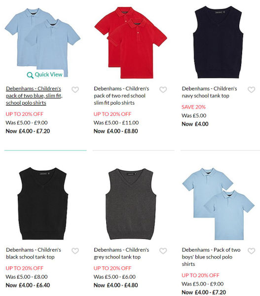 2a7b1a583d54 20% off on School Uniforms at Debenhams