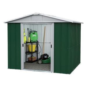 Yardmaster 8 x 6 metal apex shed half price at for Best deals on garden sheds