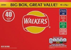 Walkers Crisps Pack of 40 (Salted, Vinegar, Prawn, Cheese) - Only £2.95 In-Store
