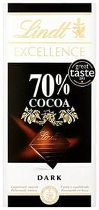 Lindt Excellence 70% Cocoa Dark Chocolate Bar, 100 g - Pack of 5