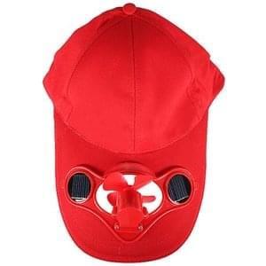 Summer Solar Sun Power Hat Cap Cooling Cool Fan for Golf Baseball Sport - Red