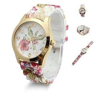 Estone Women Dress Watch Printed Flower Causal Quartz Wristwatches (Wine Red)
