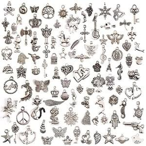 100 Pcs Silver Plated Mixed Charms FREE DELIVERY