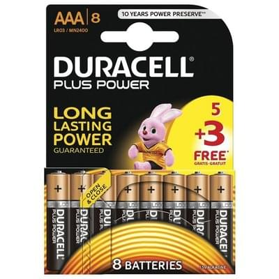Duracell Plus Power Alkaline AAA Batteries -Pack of 5+3 Free at Argos
