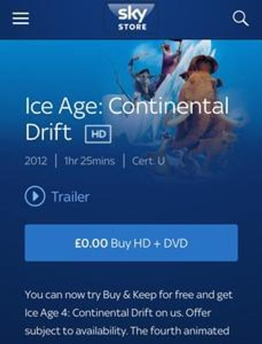 FREE Copy of Ice Age 4: Continental Drift DVD from Sky