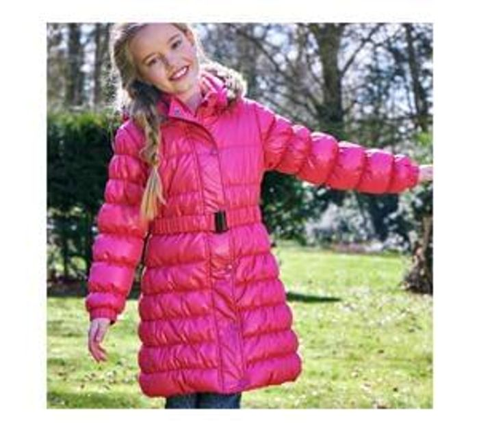 Less Than Half Price-Cherokee Girls Pink Three Quarter Length Padded Coat & Belt