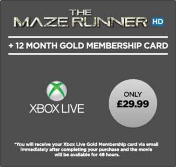 Xbox - 12 Months Xbox Live Plus The Maze Runner HD - £29 99
