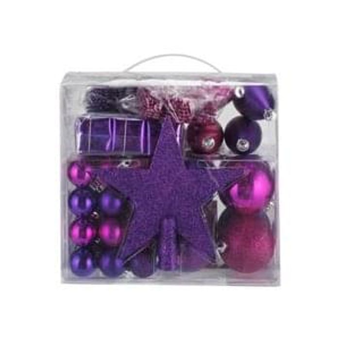 Pack Of 75 Christmas Decorations Pink And Purple 2 99 At Argos
