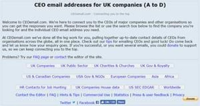 CEO Email Addresses - Contact Company CEOs Directly via