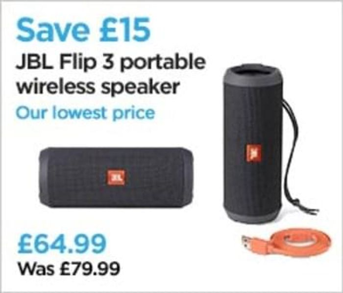 JBL Flip 3 Portable Bluetooth Wireless Speaker. SAVE £15.