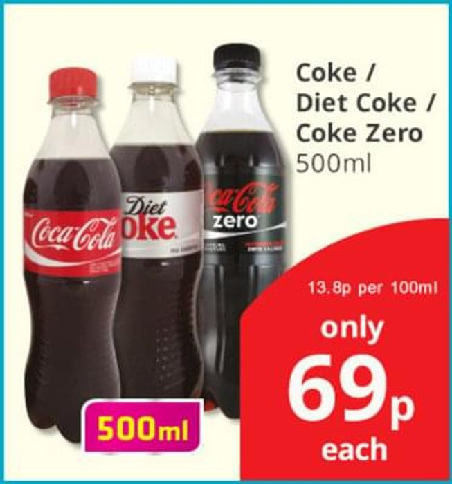 Coke 500ml 69p in-store at Savers