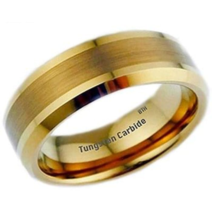 New Boxed Gold Gp Tungsten Carbide Mens Wedding