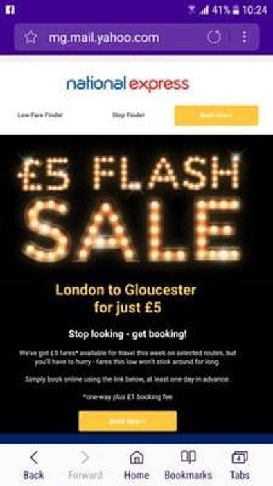 £5 flash sale from London to Gloucester