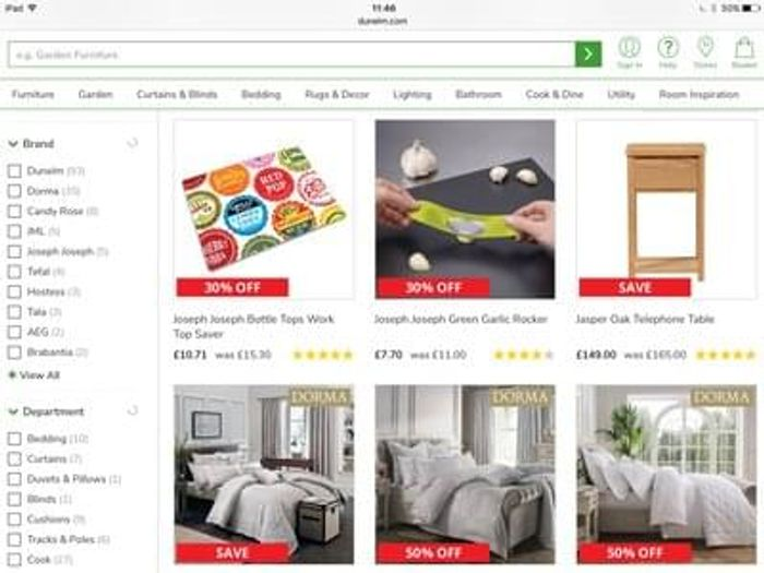 Dunelms clearance lots on offer