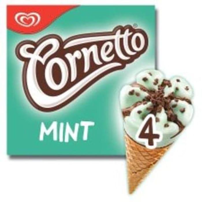 Tesco - Cornetto Mint Ice Cream Cone 4 X90ml