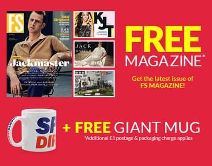 Free magazine & giant mug at sports direct