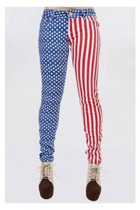 USA American Flag Print Jeans