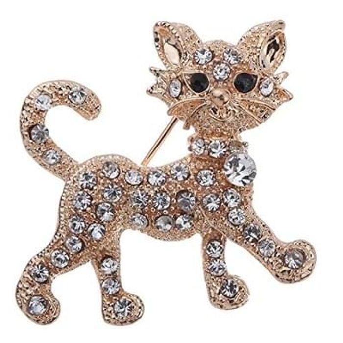 Crystal Cat Brooch FREE DELIVERY