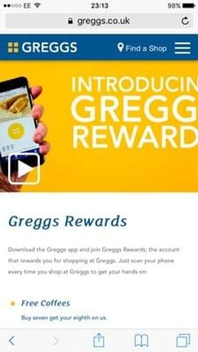 Get rewards by downloading greggs app