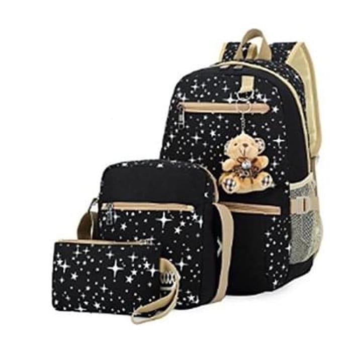 Girls Canvas Casual Daypack School Backpack + Shoulder Bag + Pencil Case(3 PCS)