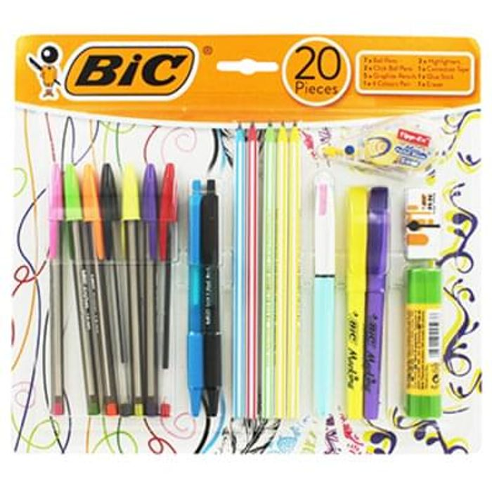Bic 20 Piece Stationery Set Save £4.99 Free C+C