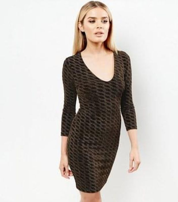 Black Metallic Abstract Pattern Bodycon Dress