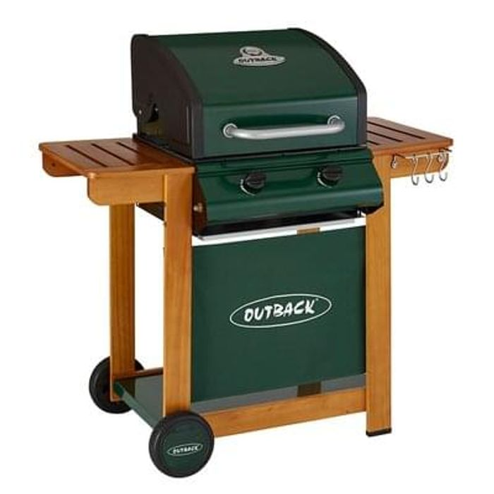 Outback Trooper 2 Burner Gas BBQ with Trolley & Hood. ALMOST HALF PRICE