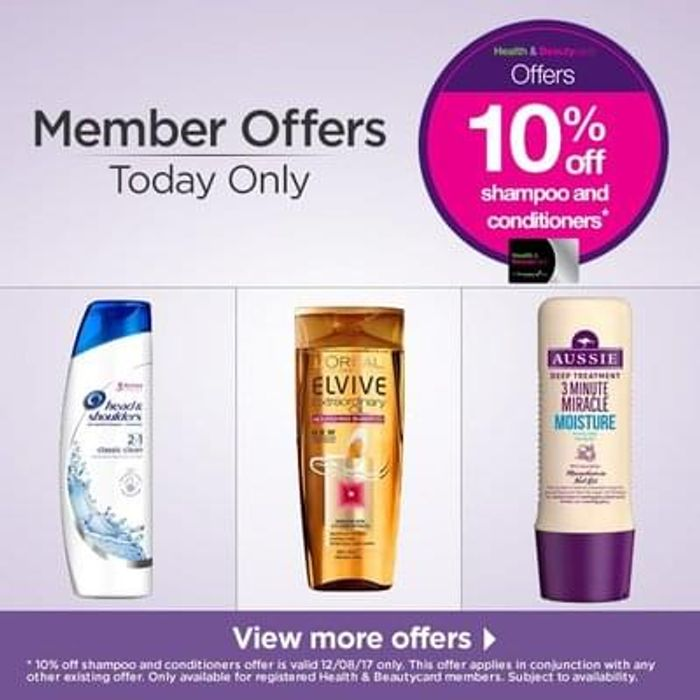 10% off shampoo and conditioners