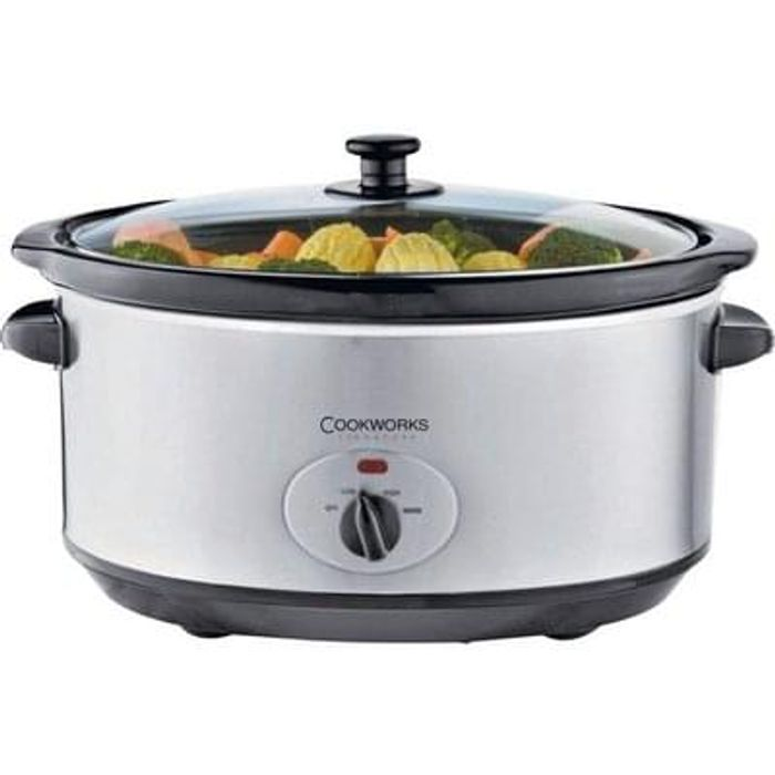 Cookworks 5.5L Slow Cooker - Stainless Steel Lowest Price Free C+C