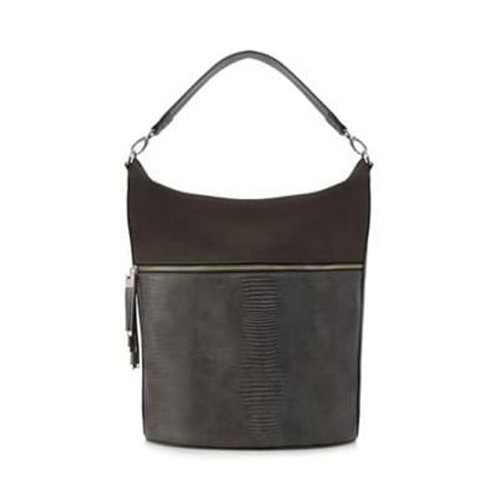 Principles by Ben de Lisi - Grey croc-effect shoulder bag
