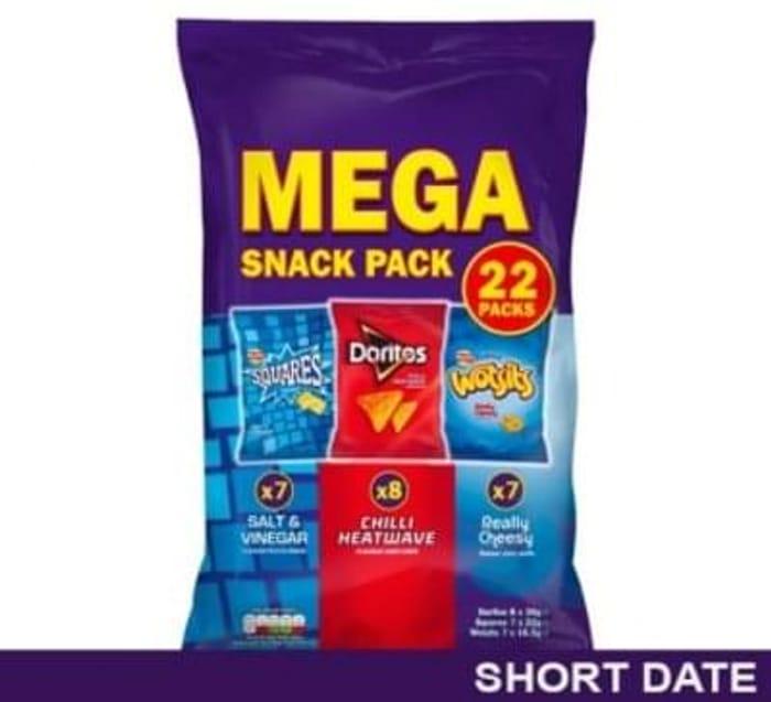 Walkers Mega Snack Pack Flavour Potato Crisps 22 Pack