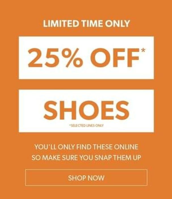 25% off Selected Footwear at New Look