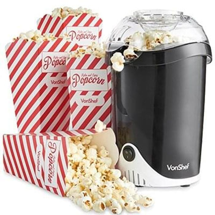VonShef Fat-Free Hot Air Popcorn Maker Save £5.99 Free Delivery