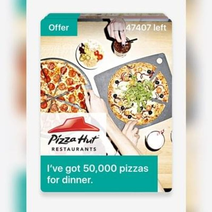 Free Pizza Hut (In Restaurant) Three Mobile Customers Only