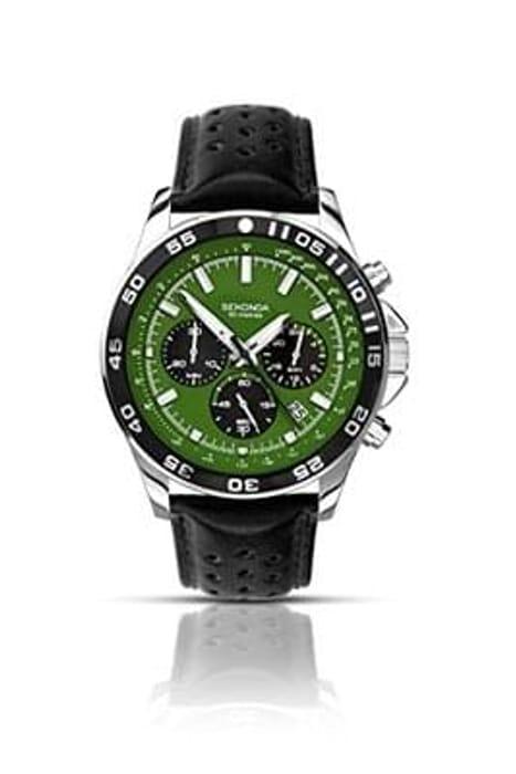 Sekond Men's Quartz Watch with Green Dial Chronograph