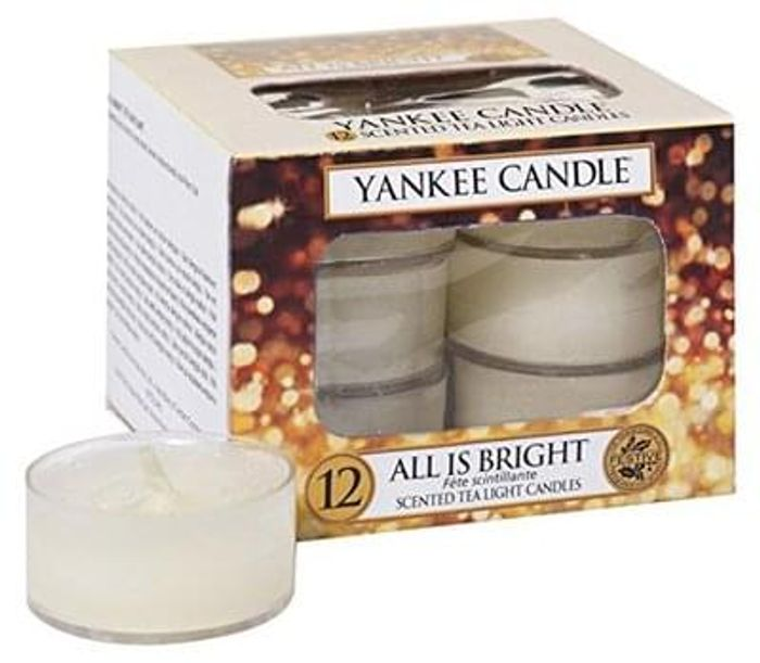 Yankee Candle All is Bright Scented Tea Light Candles - Pack of 12