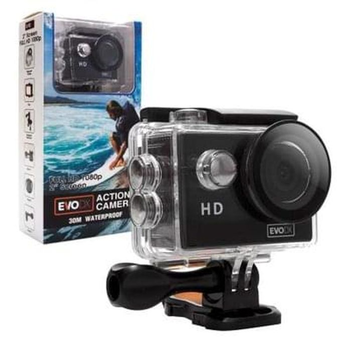 EvoDX HD 1080P Sports/Action Camera Kit, 30M Waterproof Case and Mount Set