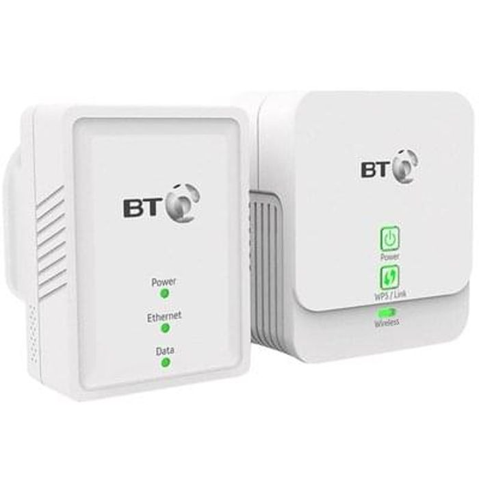 BT Powerline 500 Kit with WiFi Extender Save £17 Free Delivery