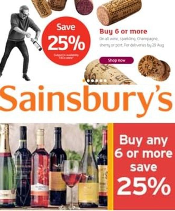 Sainsbury's WINE DEAL IS BACK! SAVE 25% or more!