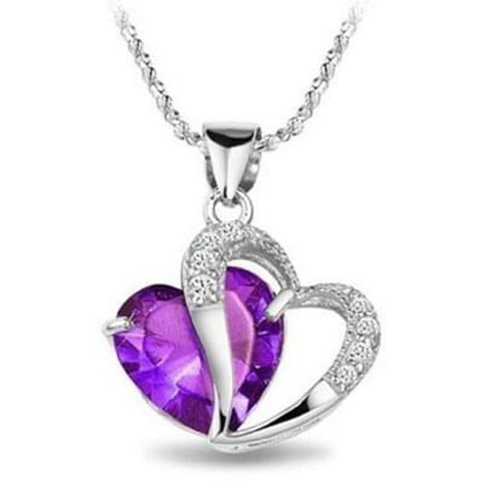 "Rhodium Plated Diamond Accent Amethyst Heart Shape Pendant Necklace 18"""